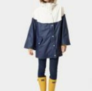 Joules White and Navy Blue Waterproof Poncho Cape